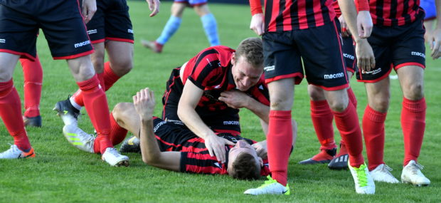 Mark Souter celebrates scoring with Eric Watson. Pic by Chris Sumner