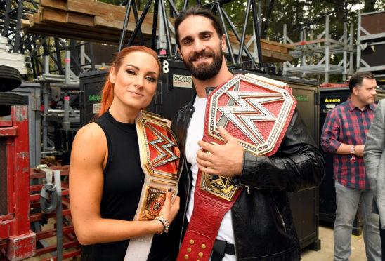 Becky Lynch with Seth Rollins