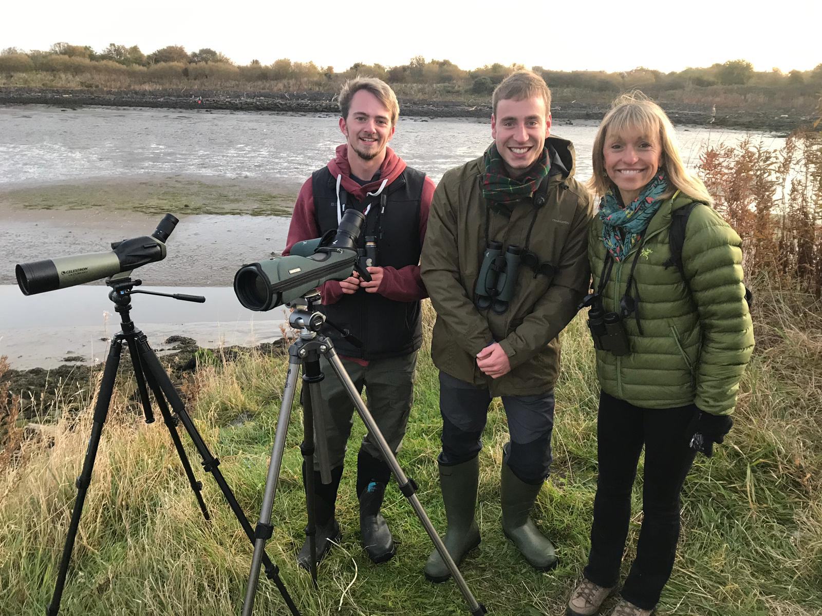 Gus Routlege and Simon Ritchie with Autumnwatch presenter Michaela Strachan