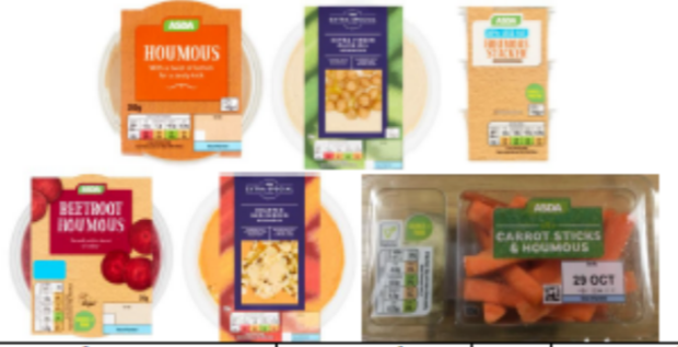 Some of the affected houmous products sold by Asda