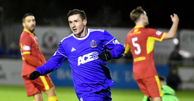 Cove's Fraser Aird celebrates. Picture by Chris Sumner