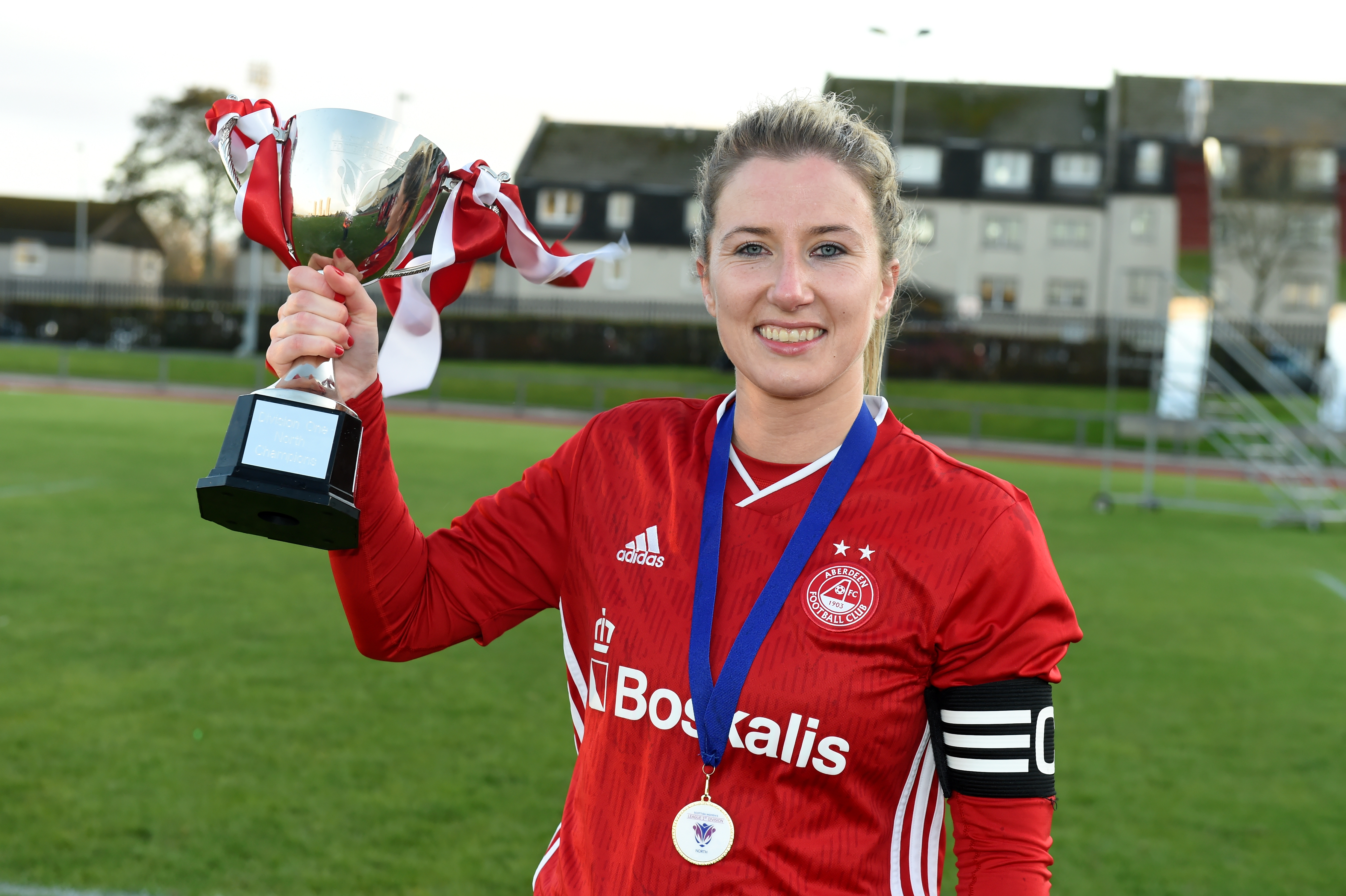 Kelly Forrest with the SWFL Division One North trophy. Picture by Kenny Elrick