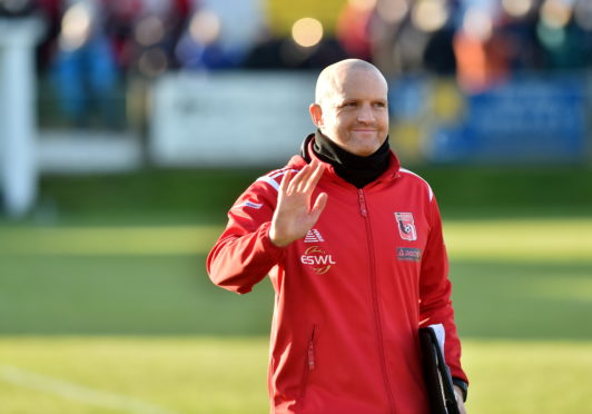 Inverurie's new manager Andy Low at half-time.  Picture by Scott Baxter    26/10/2019
