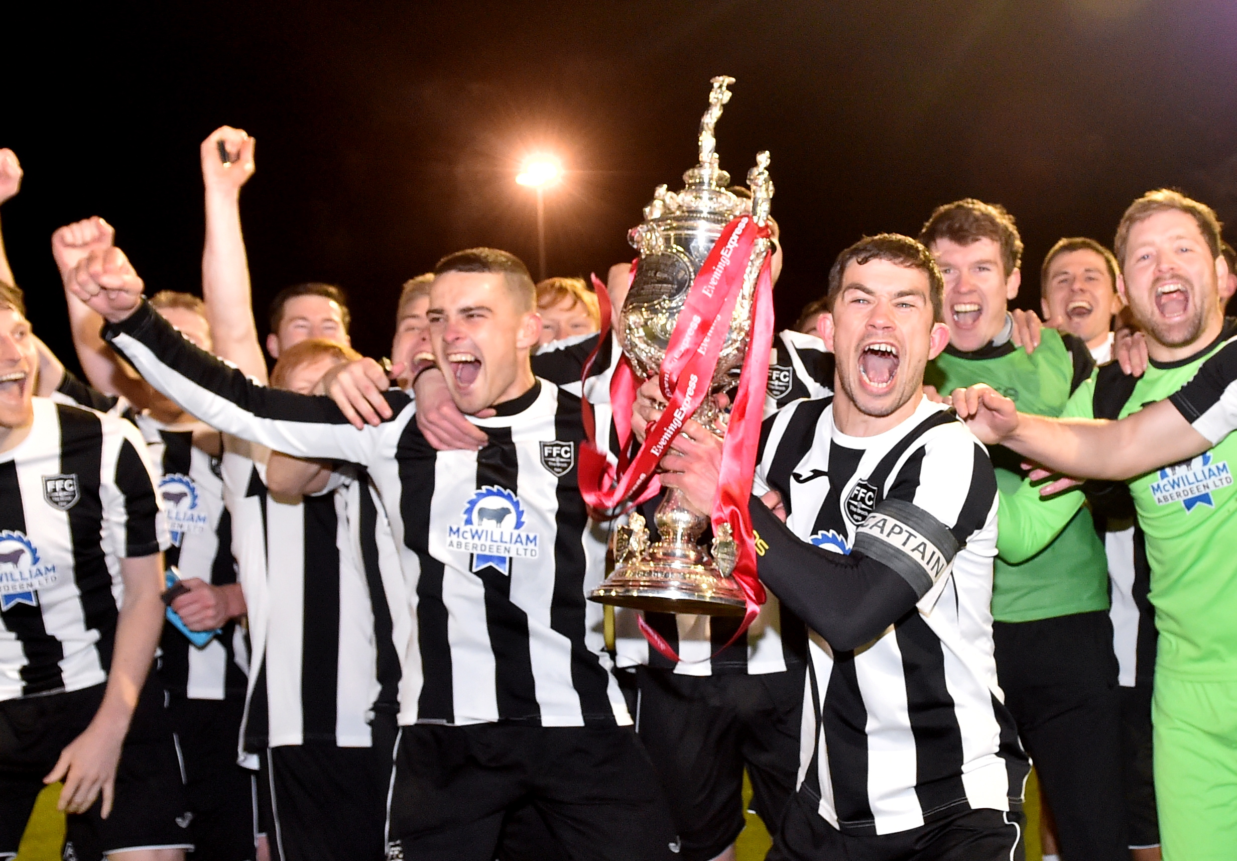 Willie West and  Fraserburgh celebrate winning the Aberdeenshire Cup earlier in the season. Picture by Scott Baxter