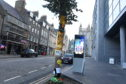 The yarn-bombed tree in Aberdeen city centre