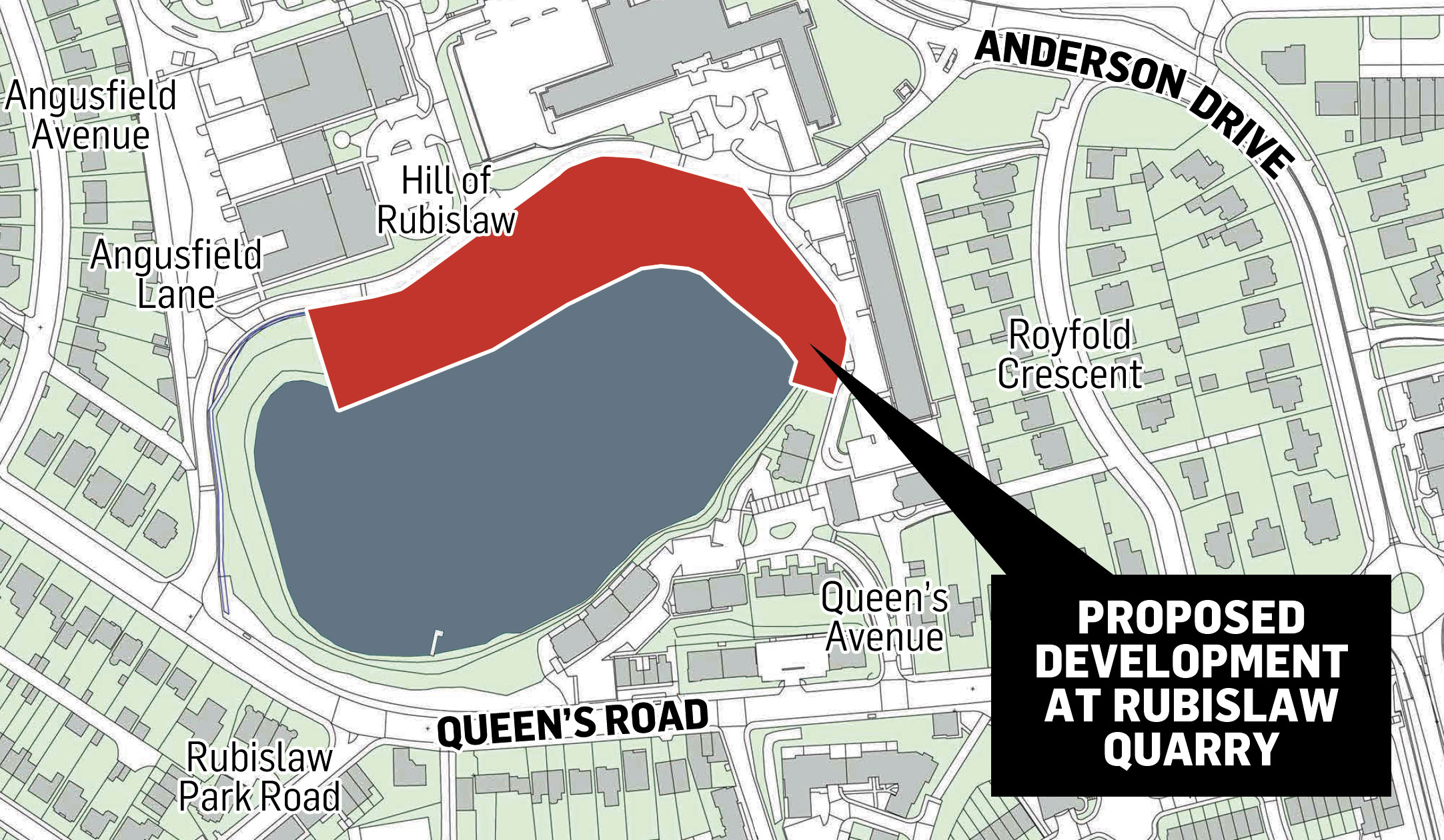 A map showing the planned development at Rubislaw Quarry