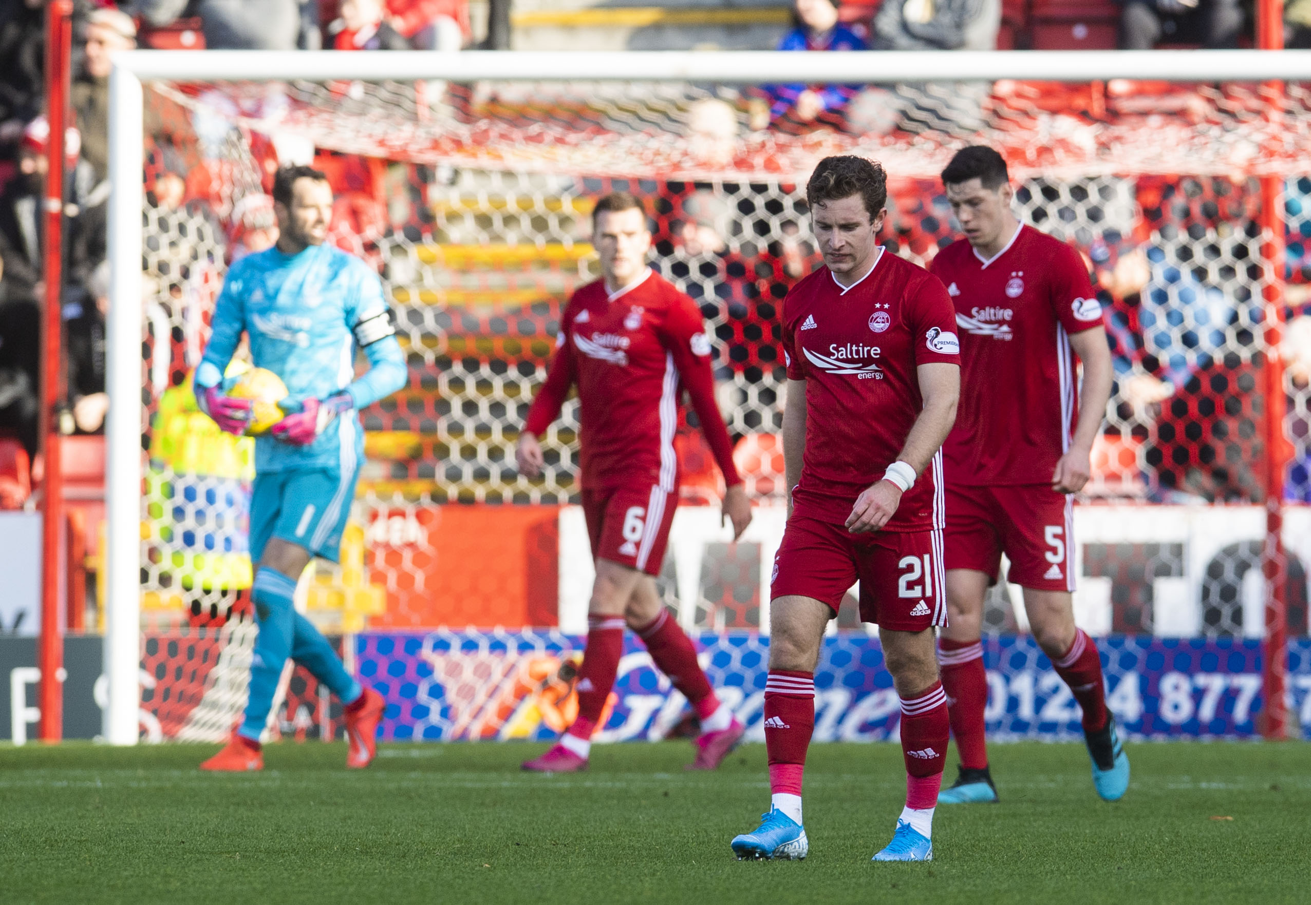 Aberdeen's Jon Gallagher is left dejected as his side go 4-0 down during the Ladbrokes Premiership match between Aberdeen and Celtic.