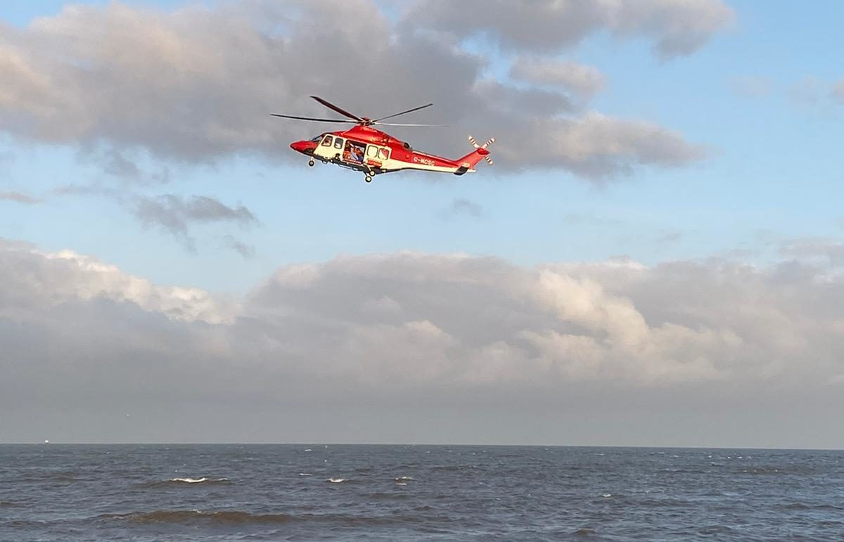 A helicopter at Aberdeen beach today. Picture by Stuart Grassick