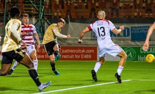 Lewis Ferguson scores the opening goal for Aberdeen at Hamilton.