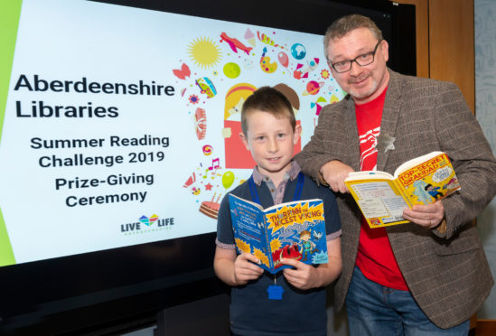 Star Reader Finlay Watson with author David MacPhail