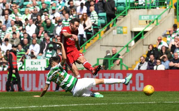 Andy Considine fires his Celtic Park winner.
