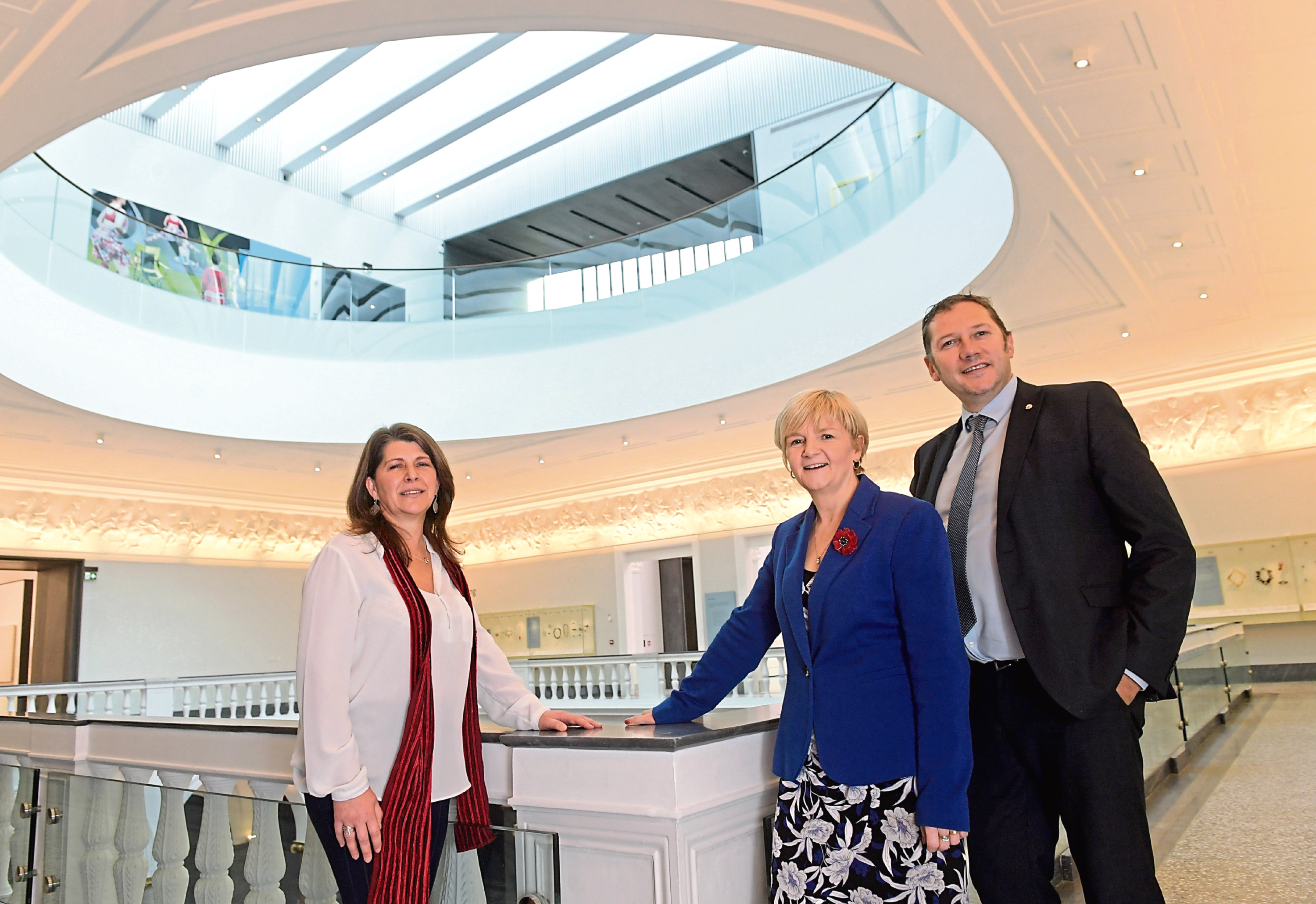 Marie Boulton with council leaders Jenny Laing and Douglas Lumsden inside the art gallery. Picture: Kath Flannery