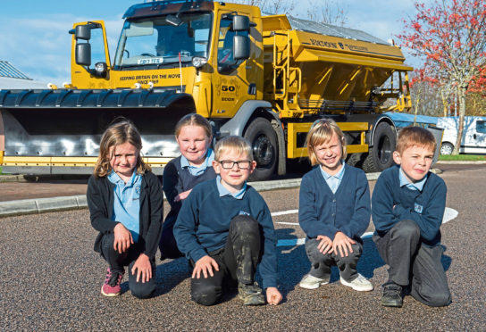 Strathburn Primary School in Inverurie celebrate the launch of the competition to name Aberdeenshire Council's gritter fleet