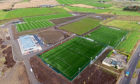 An aerial view of the new training pitches at Cormack Park