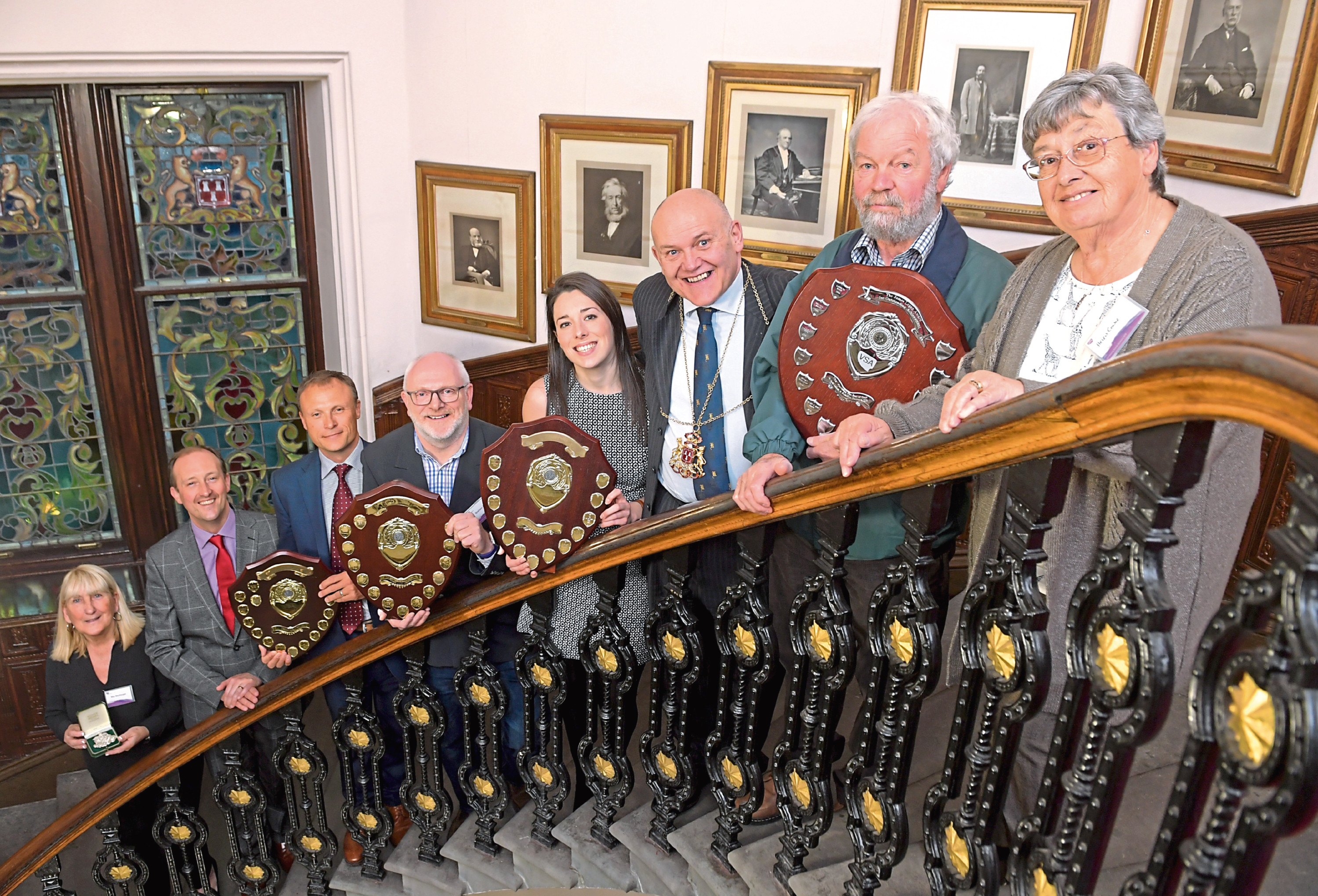 Some of the winners from the annual VSA awards with Lord Provost Barney Crockett