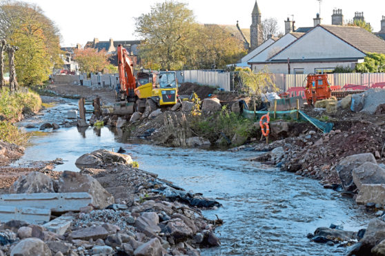 Work has resumed on the Stonehaven Flood Prevention Scheme following the slight easing of lockdown.