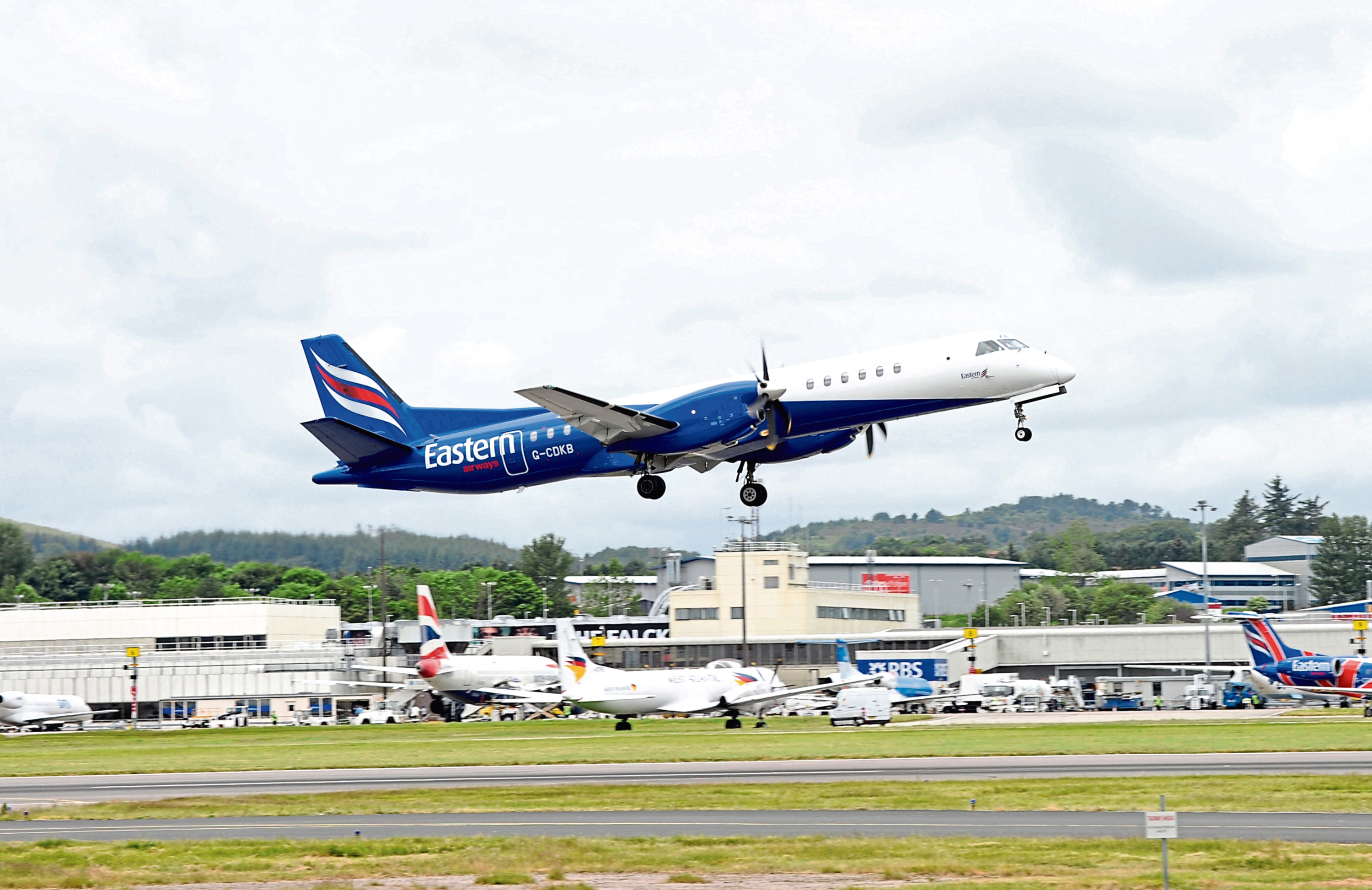 An Eastern Airways aircraft takes off from Aberdeen