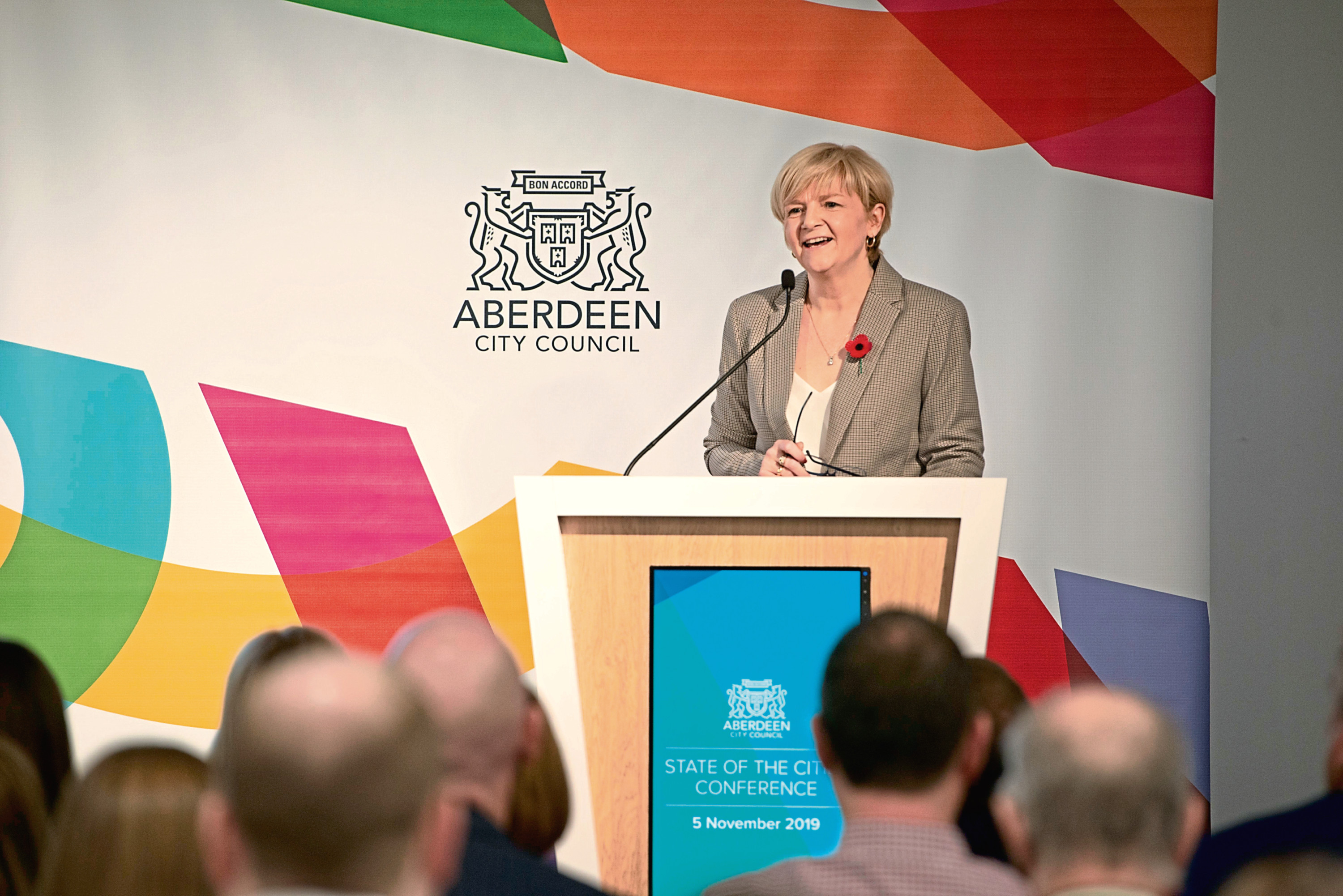 Councillor Jenny Laing, Co-Leader of Aberdeen City Council, addressing the conference