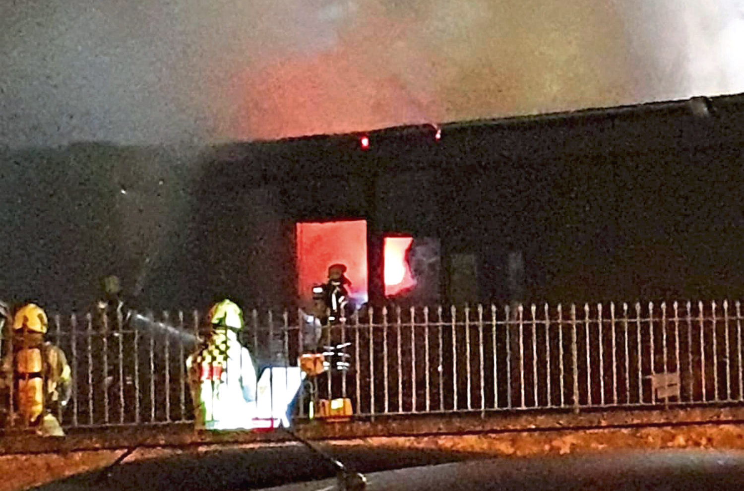 Fire crews at the scene of the blaze on Tuesday night