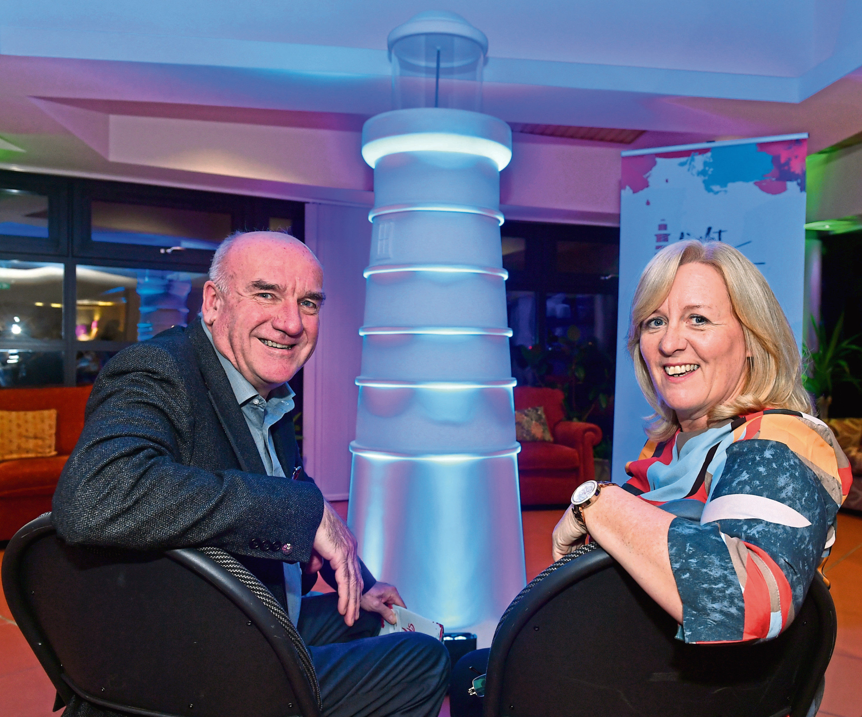 Hugh Little, chairman of Clan, and Colette Backwell, chief executive of Clan, pictured at the launch of Light the North, the lighthouse trail