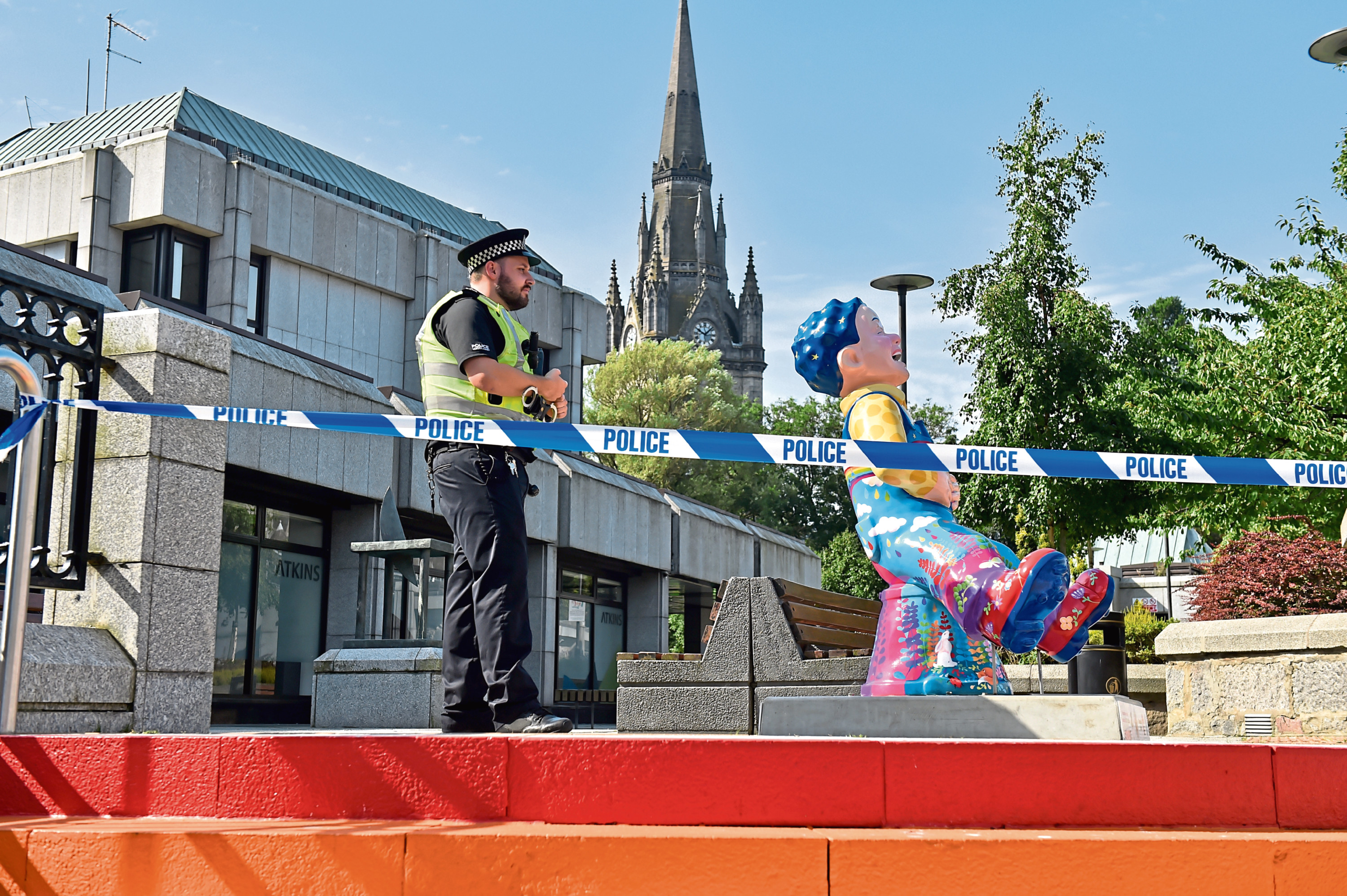 Police taped off the rooftop area of the Bon Accord Centre in Aberdeen during an investigation into the incident