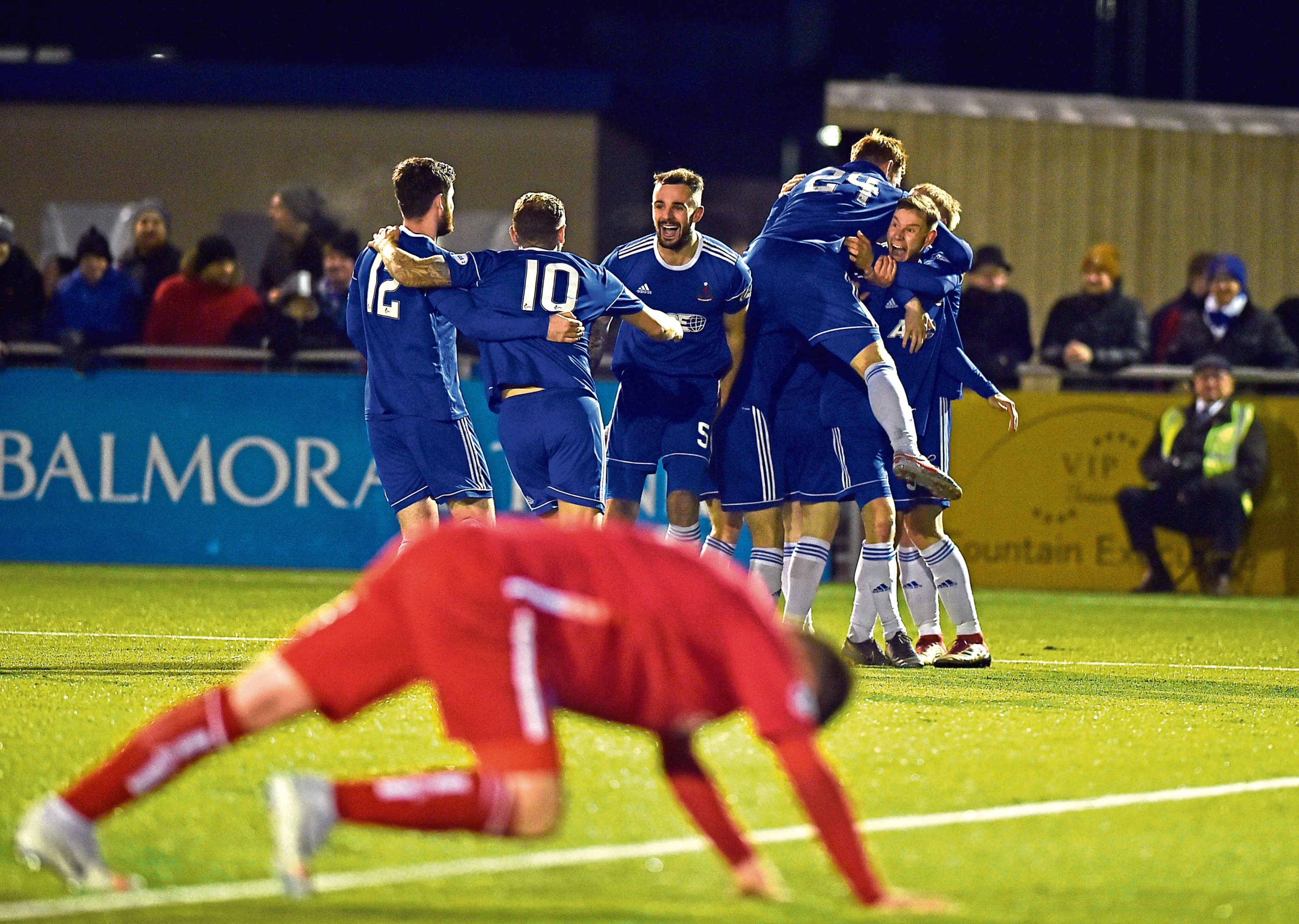 Mitchel Megginson makes it 1-0 to Cove late on. Picture by Scott Baxter