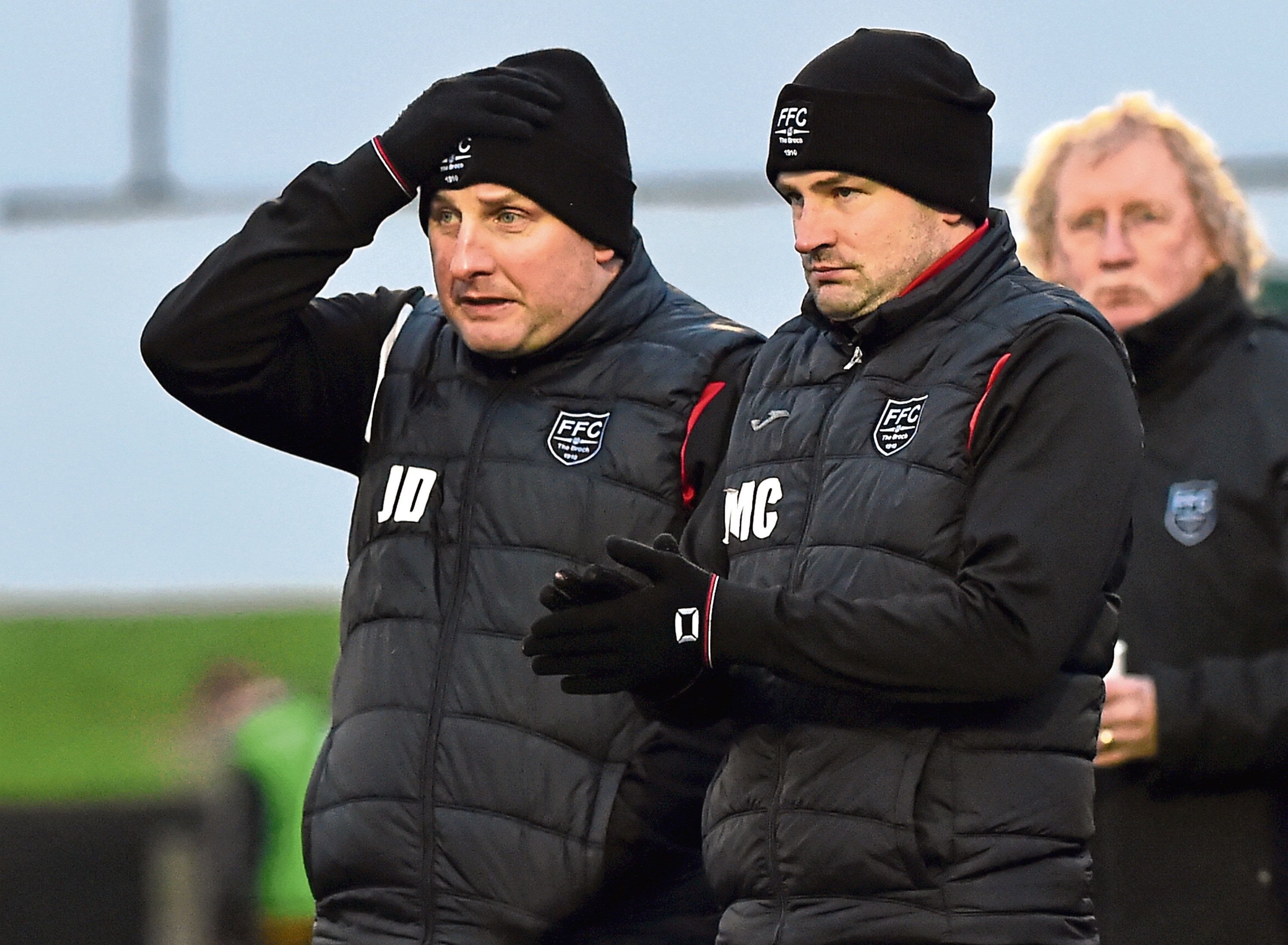 Fraserburgh assistant manager James Duthie and manager Mark Cowie.