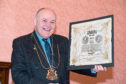 Lord Provost Barney Crockett with the napkin
