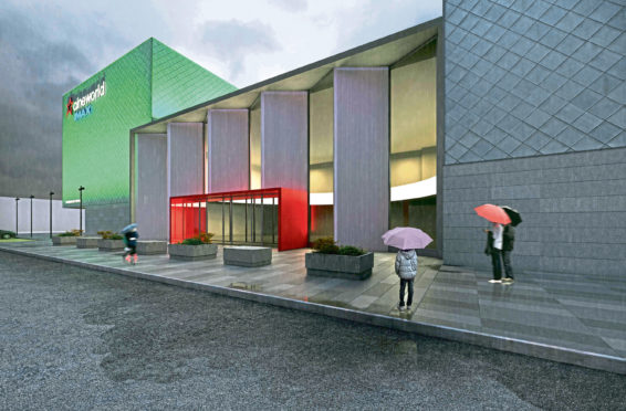An artist impression of a new imax cinema - to extend the existing cinema at Queen's Links in Aberdeen