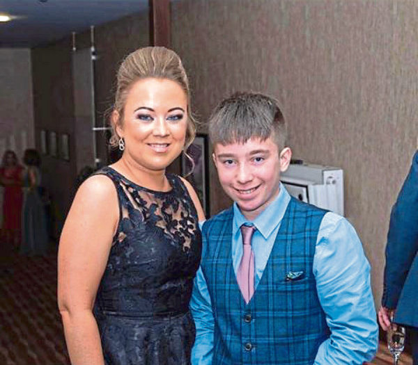Charlene Duthie, 35, with her fifteen-year-old son Lewis