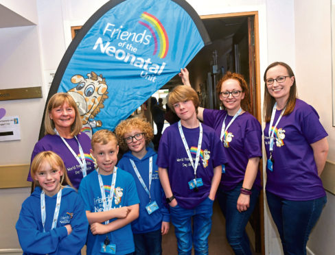 Youngsters with Friends of the Neonatal Unit committee members