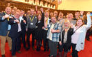 SNP supporters celebrate Audrey Nicoll's victory