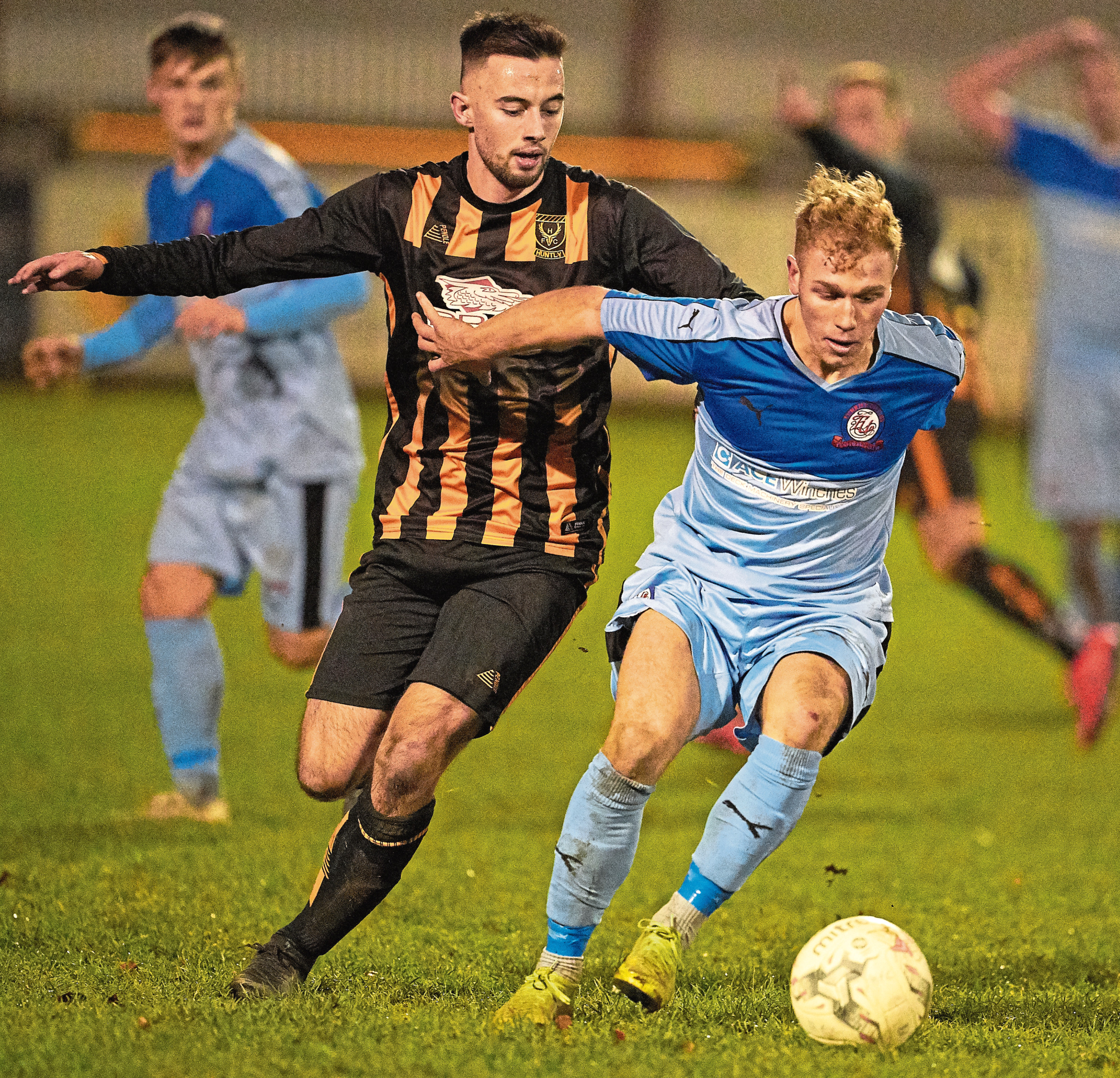Liam MacDonald, left, playing for Huntly