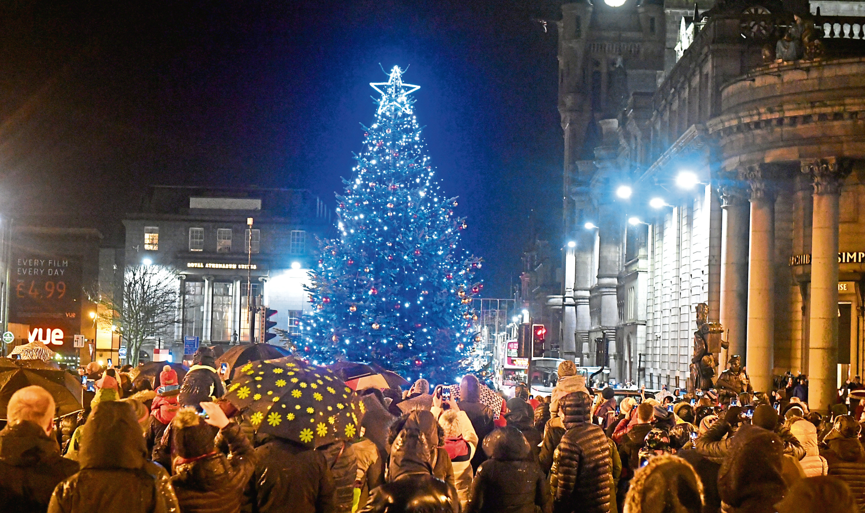 Crowds gather to watch the lights switch-on at the Castlegate