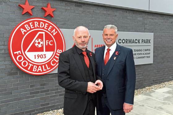 Stewart Milne and Dave Cormack at the opening of the Dons' new trainingground,  Cormack Park, last month
