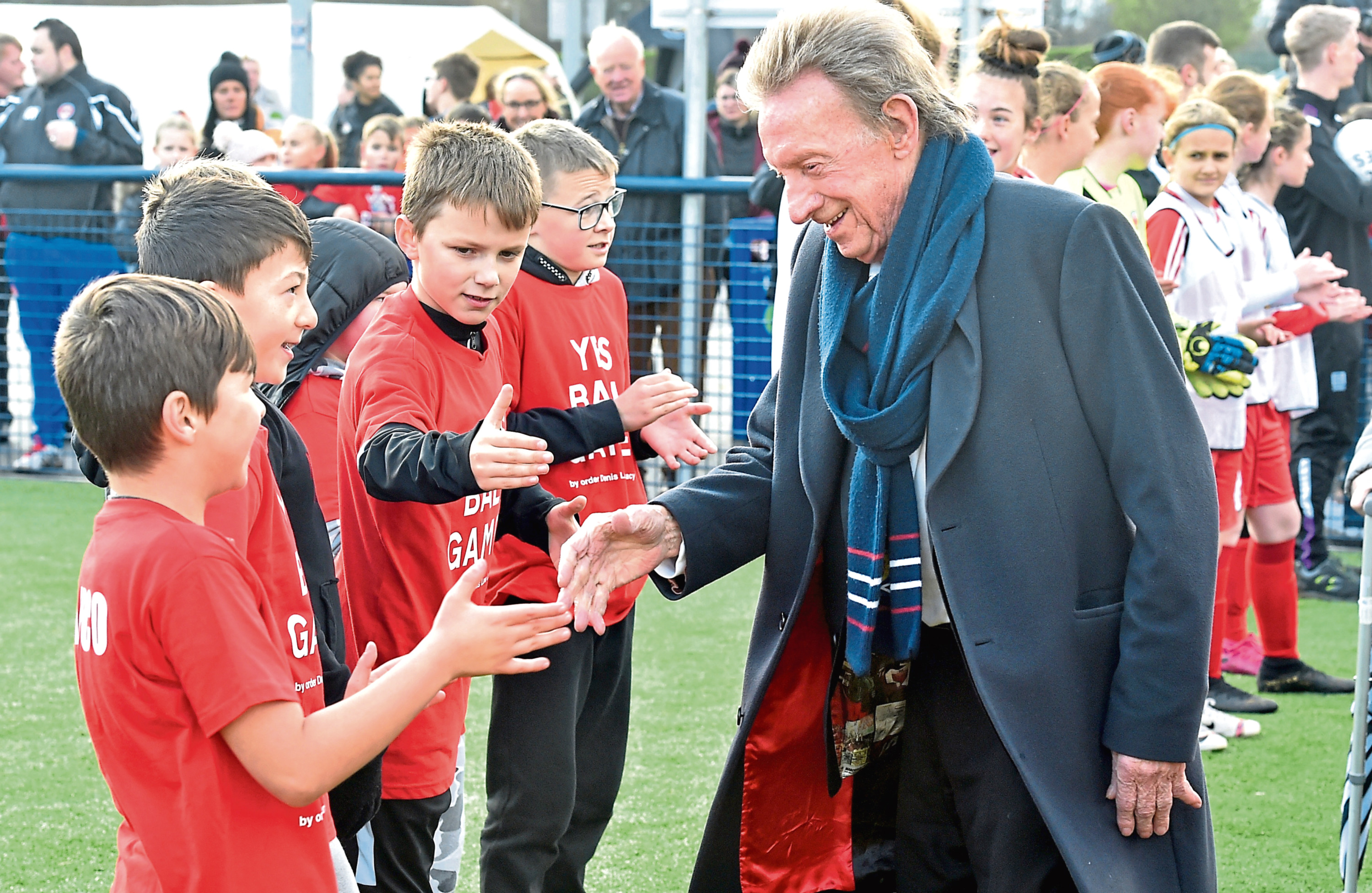Aberdeen-born legend Denis Law opens the new pitch named after Neale Cooper