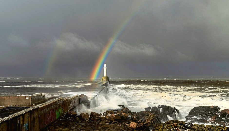 Martin Bennie was lucky to have his camera with him to capture this rainbow after a storm at Aberdeen Harbour