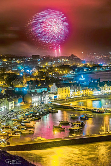 Fireworks light up Stonehaven harbour in this photography by Gavin Park