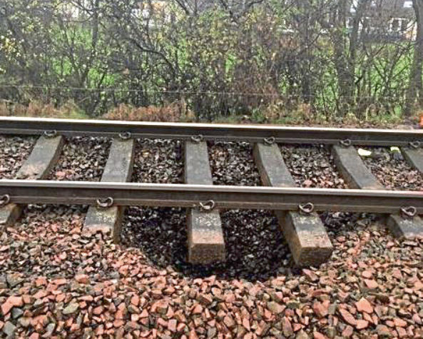 A sinkhole has caused a dip to open up below one of the lines at Leuchars