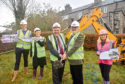 Cutting the turf, from left, John Booth, Alex Hunter, Lord Provost Barney Crockett, VSA chief executive Kenneth Simpson and Maggie Wilson