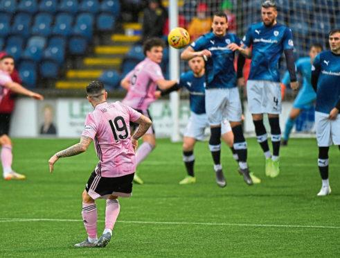 Ryan Conroy clears the Raith Rovers wall with a free-kick.