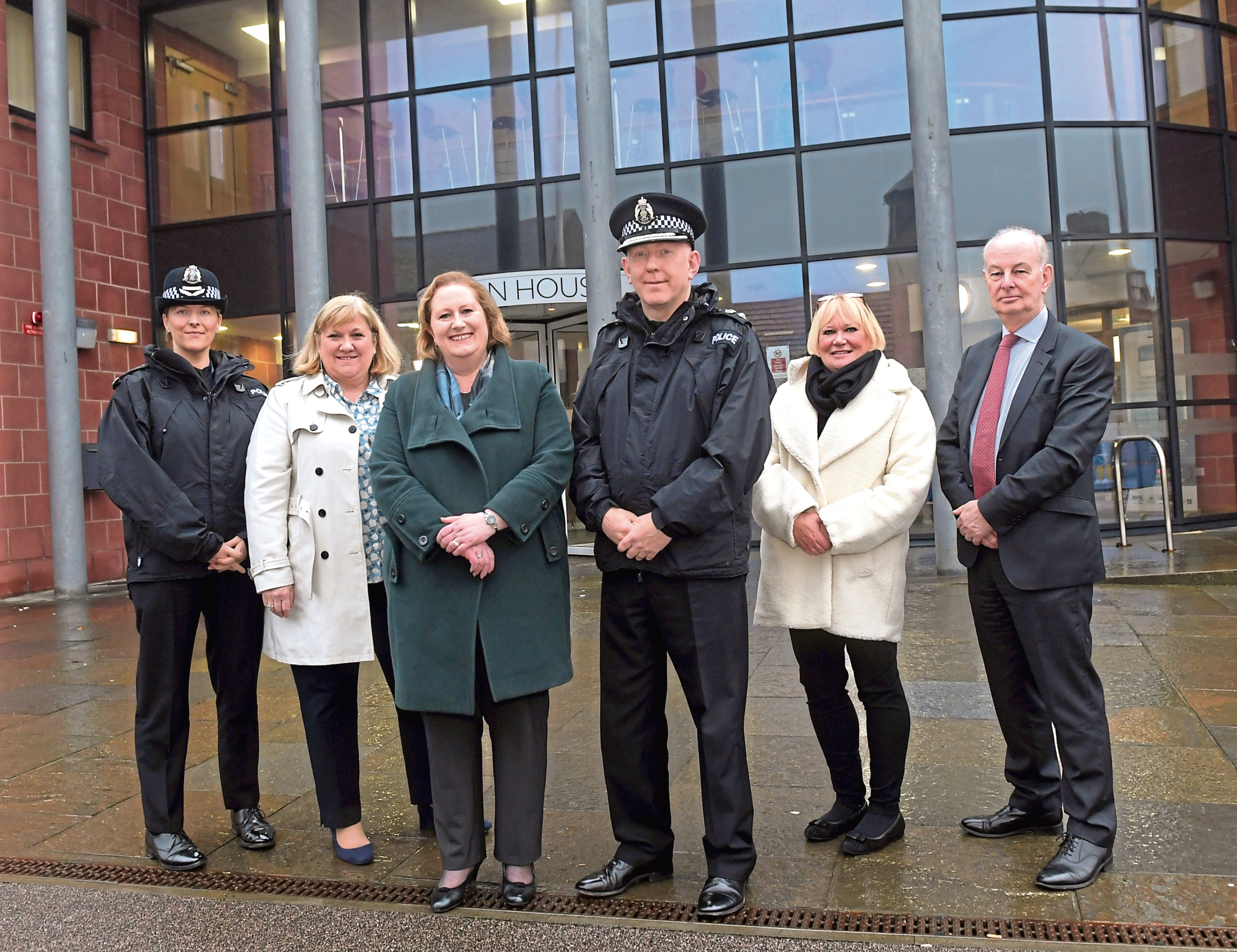 Supt Kate Stephen and Chief Superintendent Campbell Thomson with SPA board members Mary Pitcaithly, Susan Deacon, Elaine Wilkinson and Matt Smith