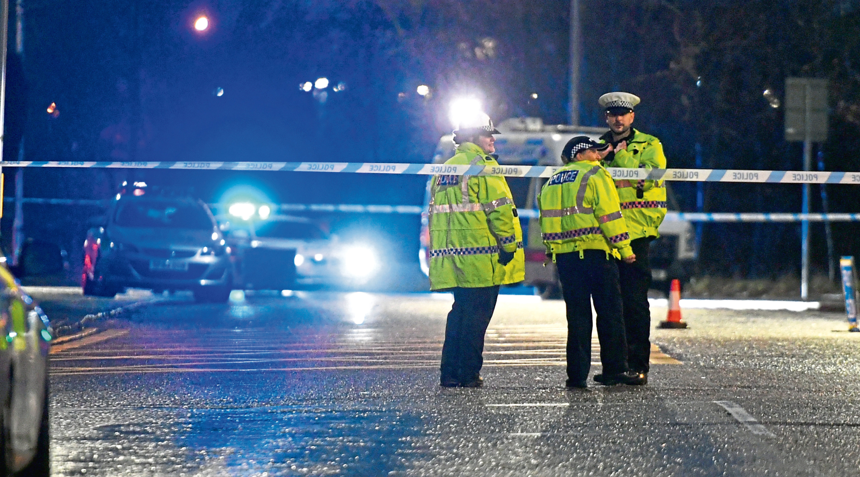 Police at the scene of the crash where a 66-year-old man was hit by a car on Monday, leaving him with serious injuries
