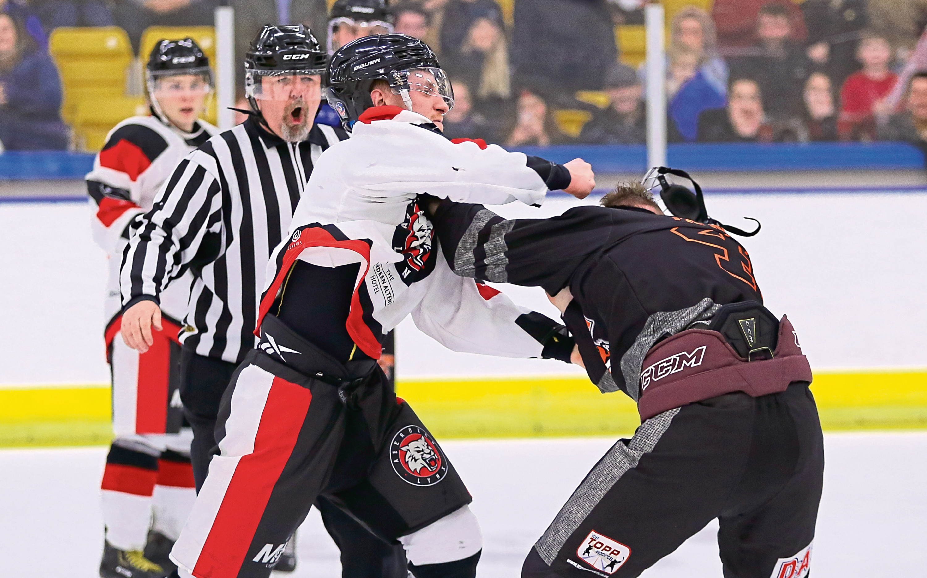 Johnny Jack gets in a fight for Aberdeen Lynx against Dundee Tigers.