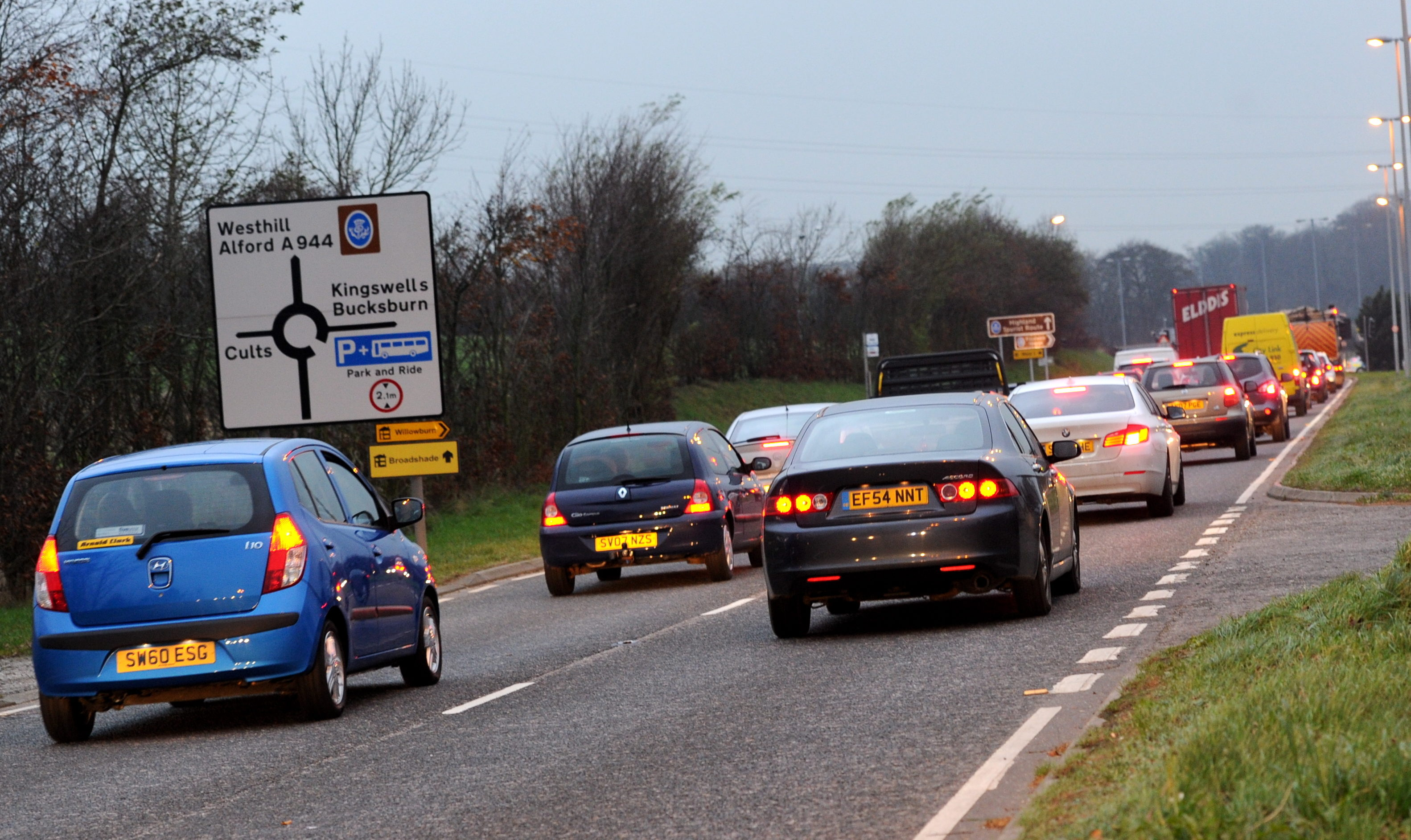 Drivers on approach to the roundabout at Kingswells