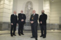 L-R artist Gordon Burnett, Reverend Hutton Steel, Lord Provost Barney Crockett, Emad Jodeh