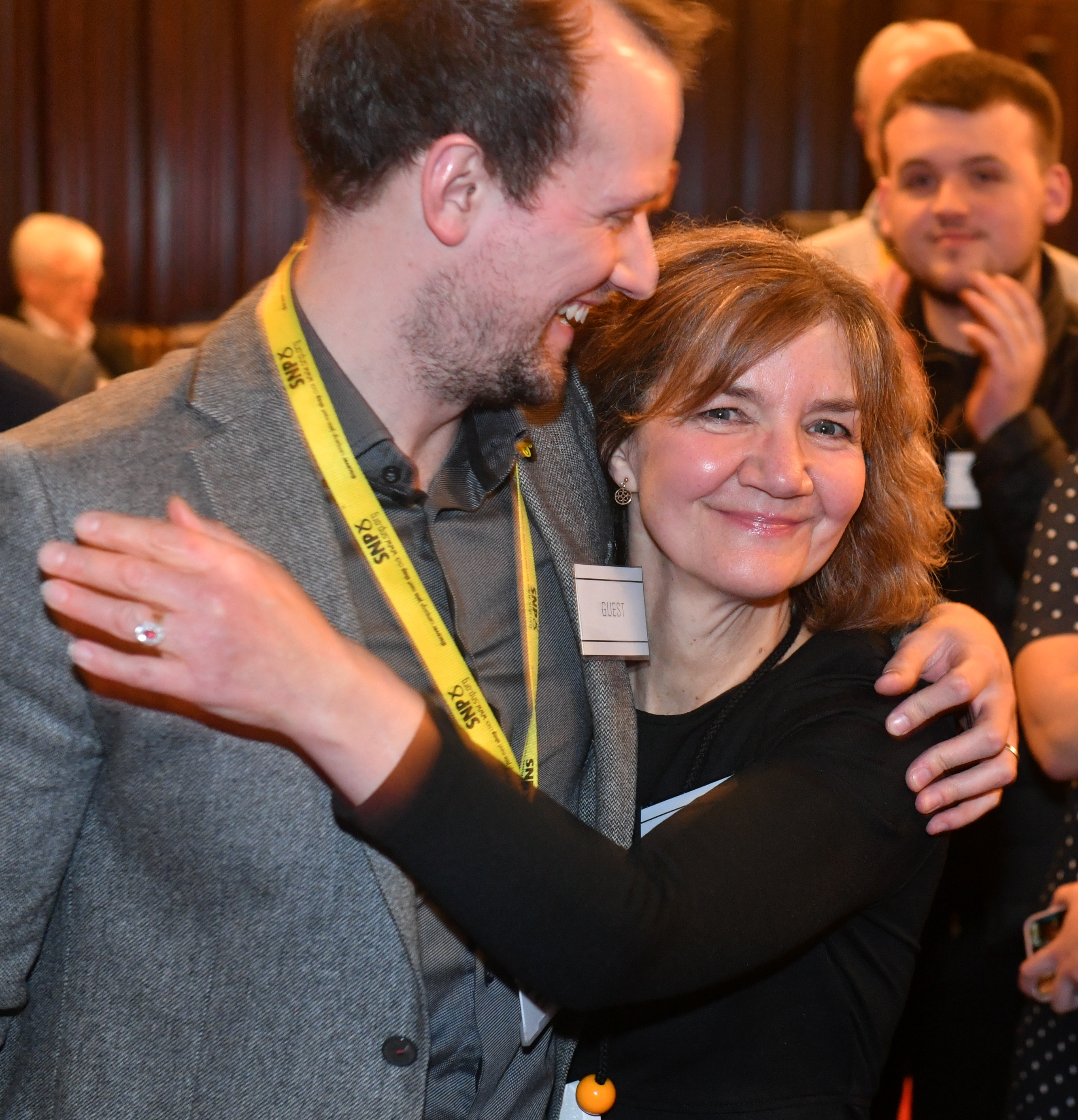 SNP group leader Stephen Flynn celebrates with new SNP councillor Audrey Nicoll.