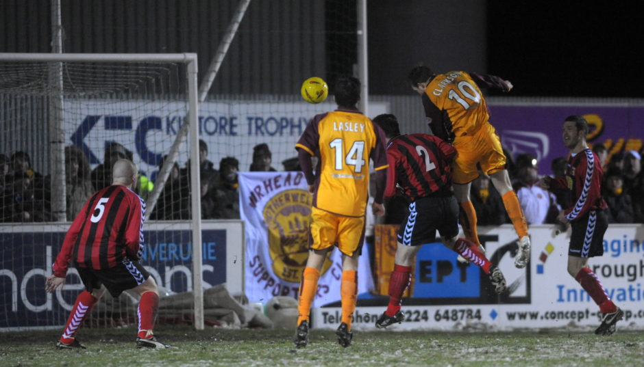 David Clarkson scores against Inverurie in the second half.