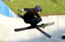 Kirsty Muir performs a trick at the snowsports centre