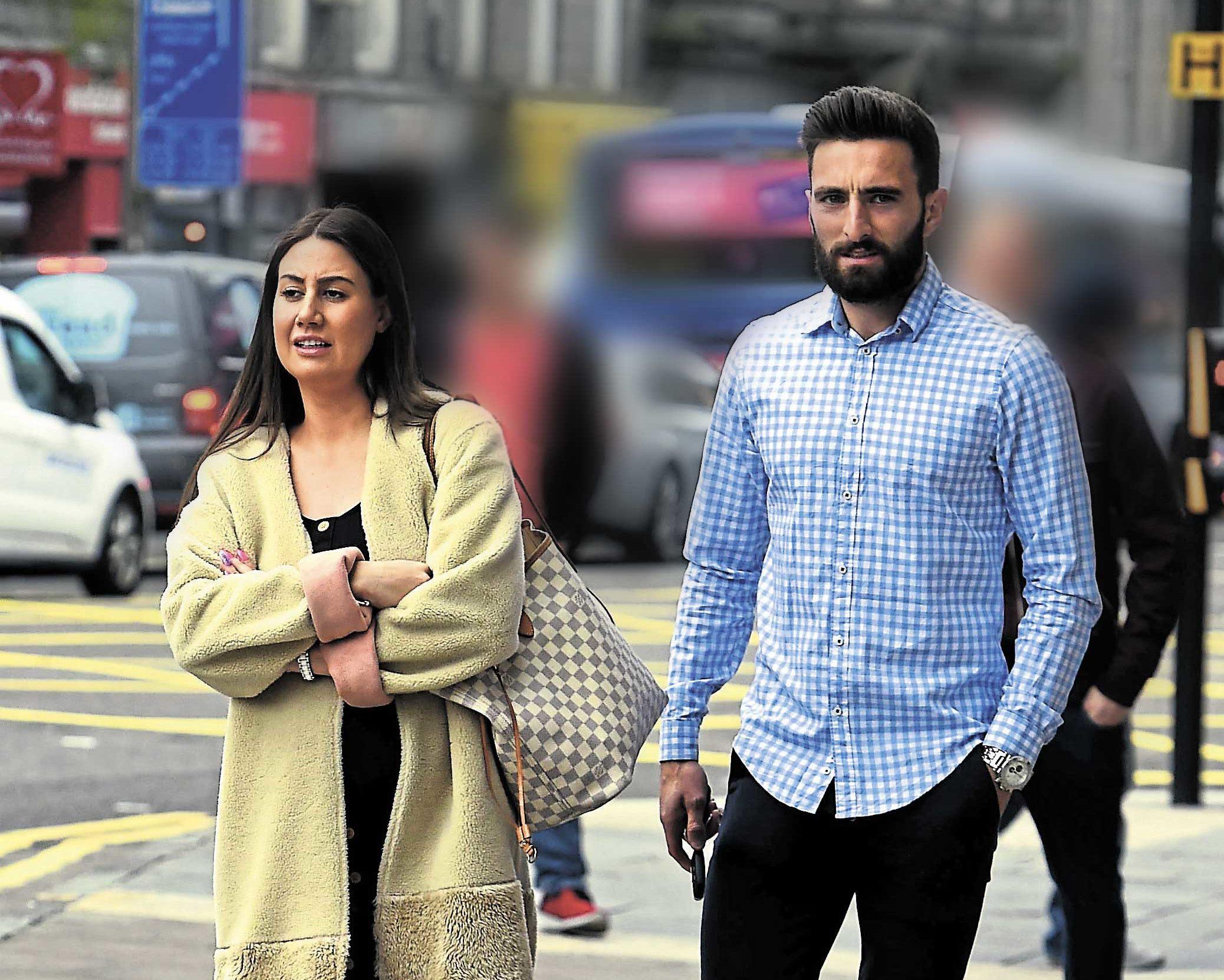 Jodie Shewan and Graeme Shinnie outside court